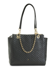 ETIENNE AIGNER Cara Leather Quilted Triple Compart