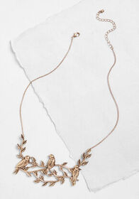 Bird by Bird Statement Necklace Gold Antiqued