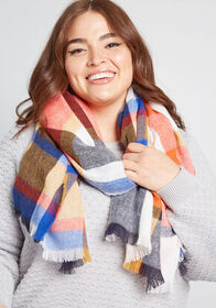 Owning Outgoing Blanket Scarf Tan Plaid
