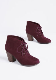 En Route to Cute Lace-Up Bootie Burgundy