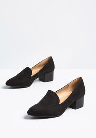 Be There Soon Heeled Loafer in Black