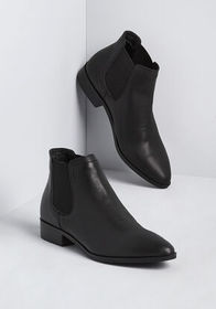 Chelsea Crew Stepping Out Leather Bootie in Black