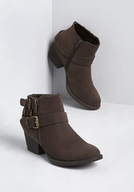 All Buckled Up Bootie Dark Brown