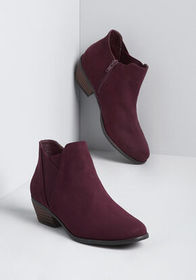 Taking My Time Faux-Suede Bootie Burgundy
