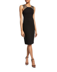Halston Sleeveless Square-Neck Crepe Dress with Sh