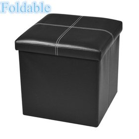 Zimtown Folding Ottoman Foot Stool Storage Cube Bo