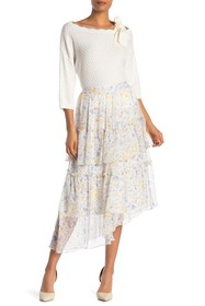 CeCe by Cynthia Steffe Provence Floral Tiered Midi