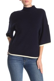 FRAME Tipped Mock Neck Rib Knit Cashmere & Wool Sw