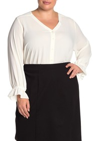 T Tahari Button Front Ruffle Cuff Blouse (Plus Siz