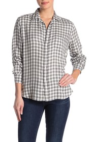 FRANK & EILEEN Eileen Check Printed Button Front S