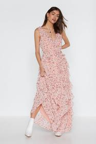 Nasty Gal Pink Grow the Distance Floral Ruffle Dre