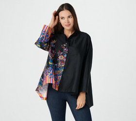 Attitudes by Renee Sateen Button Front Shirt w/ Pr