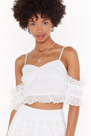 Nasty Gal White Broderie Lace Up Co-ord Top