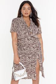 Nasty Gal Beige Real Wild Child Zebra Shirt