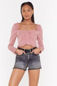 Nasty Gal Dusky pink Polka Dot Button Down Cropped
