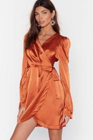 Nasty Gal Rust Tie the Hell Not Satin Wrap Dress