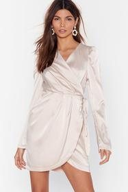 Nasty Gal Champagne Tie the Hell Not Satin Wrap Dr
