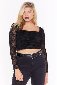 Nasty Gal Call Me Black Widow Plus Cropped Blouse
