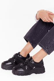 Nasty Gal Black Chunky double strap sneakers