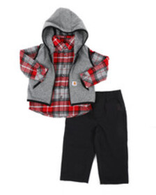 Carhartt flannel vest 3pc gift set (infant)
