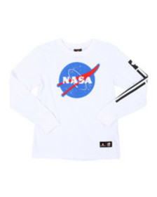 Arcade Styles chenille patch long sleeve tee (8-20