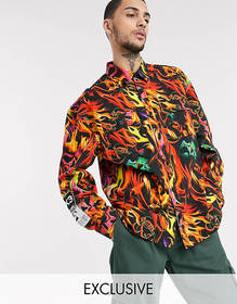 COLLUSION overshirt with flame print