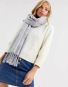 New Look plain scarf in mid gray