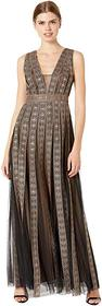 BCBGMAXAZRIA Embroidered Metallic Gown