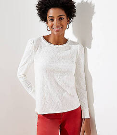 Lace Textured Keyhole Back Top