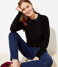 Shimmer Spotted Collar Sweater