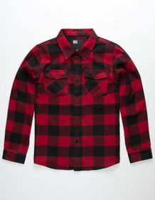 RSQ Monty Red & Black Boys Flannel Shirt_