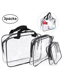 3Pcs Clear Travel Toiletry Cosmetic Makeup Bags Or