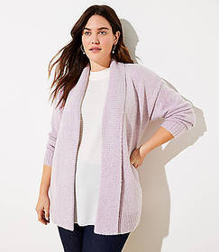 LOFT Plus Ribbed Trim Open Cardigan