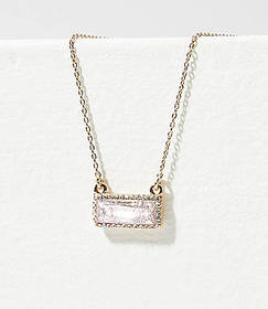 Crystal Rectangle Pendant Necklace