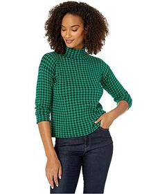 Jones New York Long Sleeve Mini Houndstooth Mock N