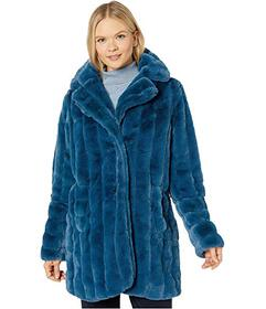 Jones New York Faux Fur Coat with Sweater Sleeves