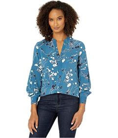 Jones New York Button Front Blouse with Ruched Sle
