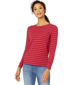 Jones New York Pleated Long Sleeve Striped Top