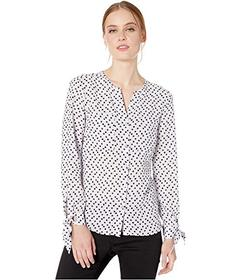 Jones New York Button Front Blouse with Tie Sleeve
