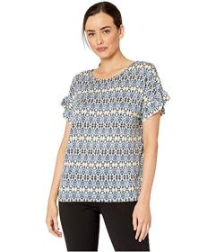 Jones New York Straight Body Top w\u002F Ruffle Sl