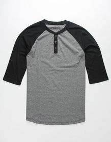 BIRCH BLACK Raglan Mens Henley_