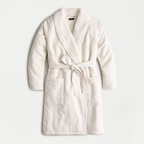 J. Crew Sherpa-lined flannel robe in heathered oat