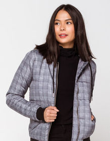 SKY AND SPARROW Plaid Womens Puffer Jacket_