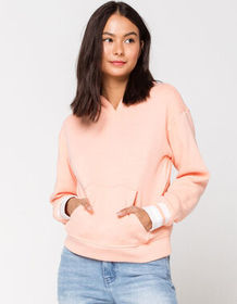 SKY AND SPARROW Marled Stripe Cuff Womens Hoodie_