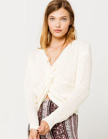 IVY & MAIN Twist Front Cream Womens Pullover Sweat
