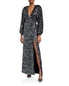 Retrofete Camille Sequined Blouson-Sleeve Slit Dre