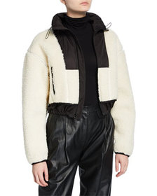 3.1 Phillip Lim Cropped Sherpa Bomber Jacket