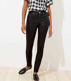 Coated Slim Pocket Skinny Jeans in Black