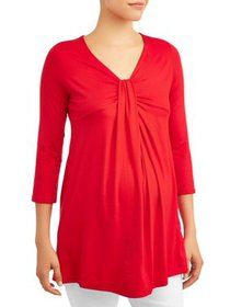 Maternity Solid 3/4 Sleeve Knot Front Top