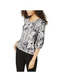 NY Collection Womens Petites Glen Plaid Floral Pul